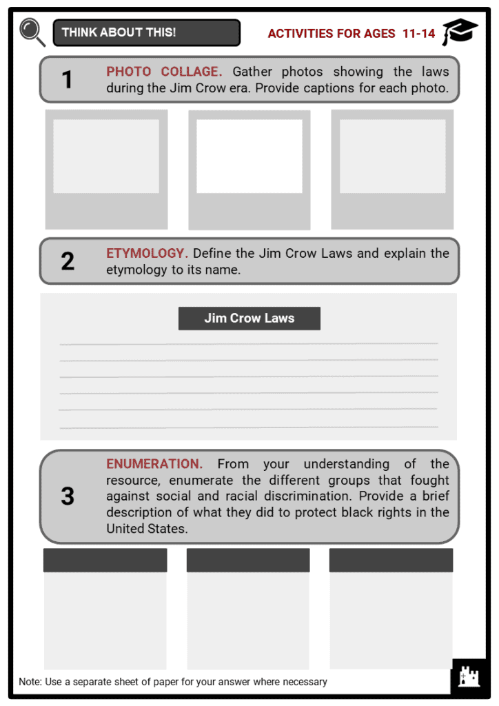 Jim Crow Laws Student Activities & Answer Guide 1