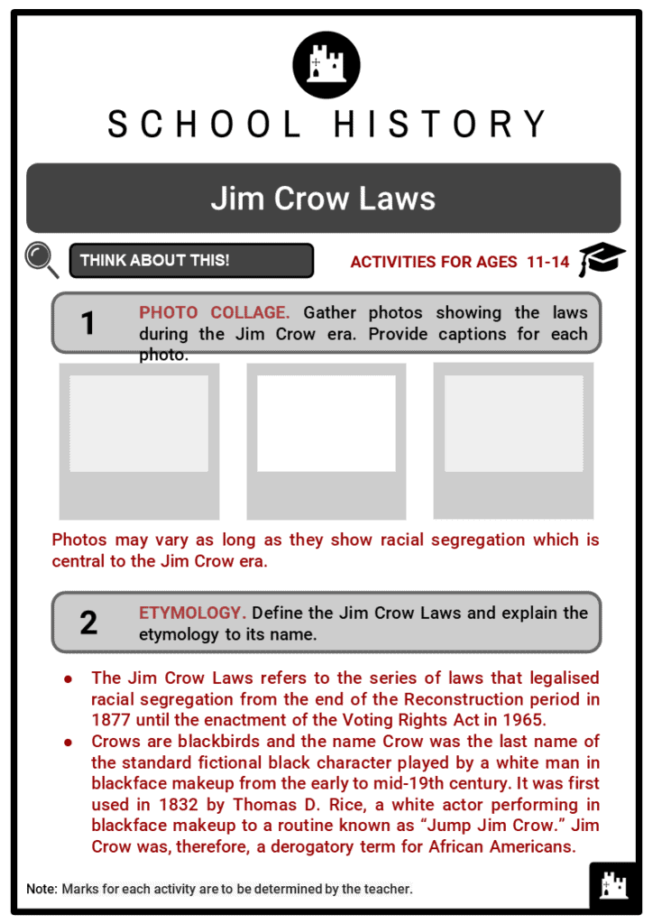 Jim Crow Laws Student Activities & Answer Guide 2