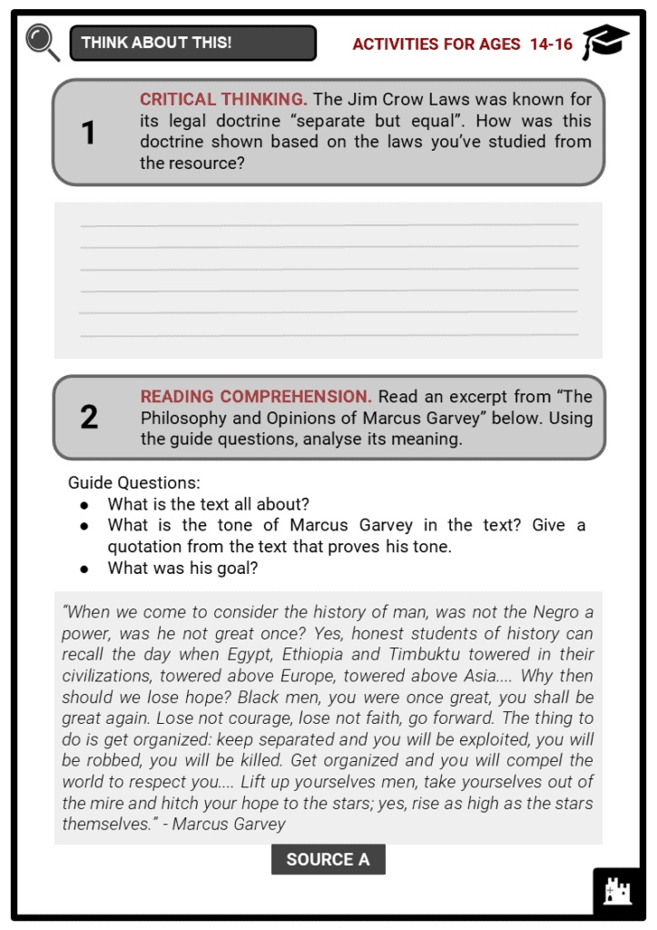 Jim Crow Laws Student Activities & Answer Guide 3