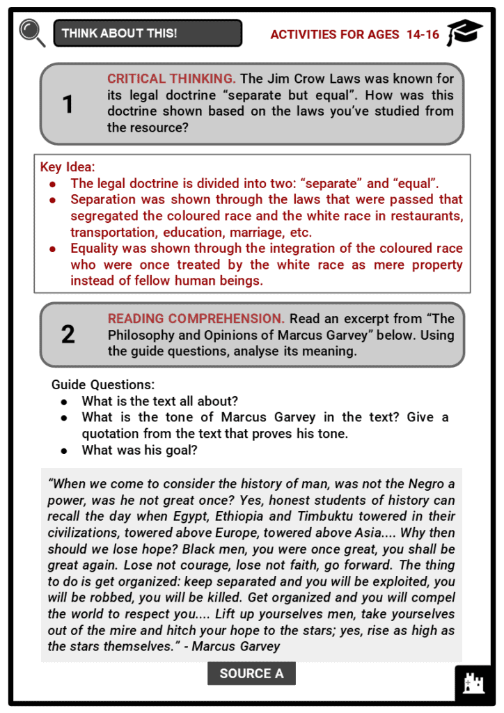 Jim Crow Laws Student Activities & Answer Guide 4