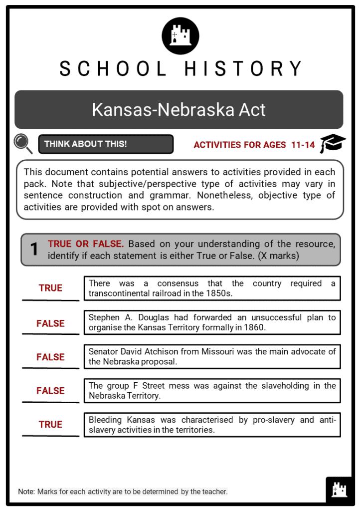 Kansas-Nebraska Act Student Activities & Answer Guide 2