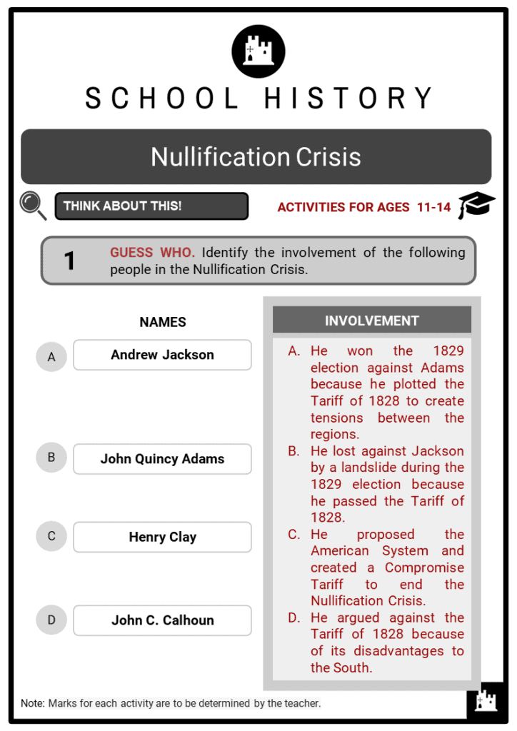 Nullification Crisis Student Activities & Answer Guide 2