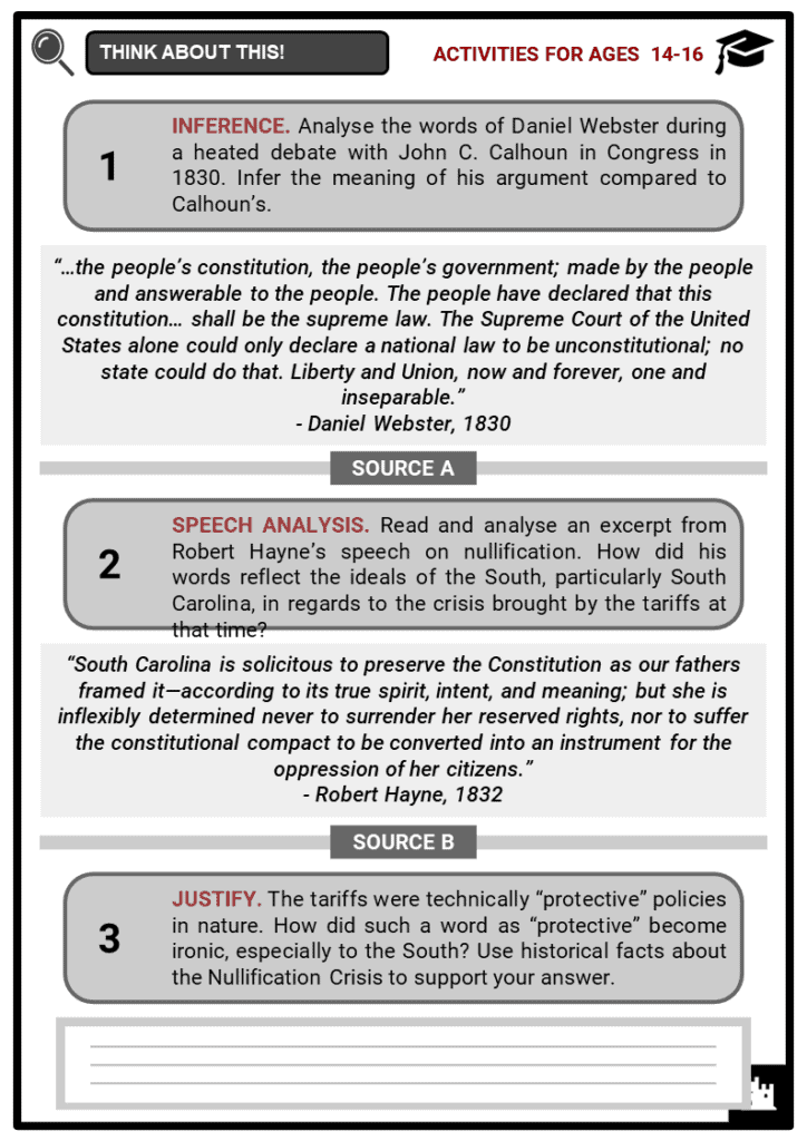 Nullification Crisis Student Activities & Answer Guide 3