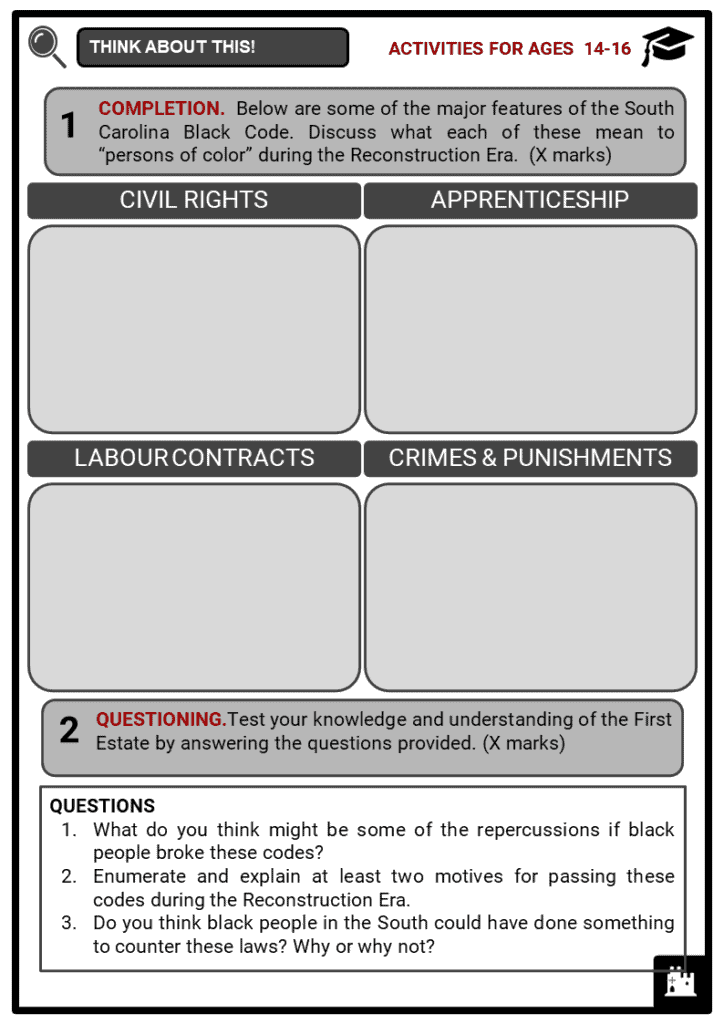 The Black Codes Student Activities & Answer Guide 3