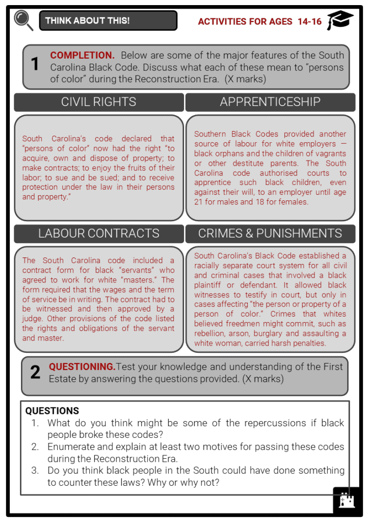 The Black Codes Student Activities & Answer Guide 4