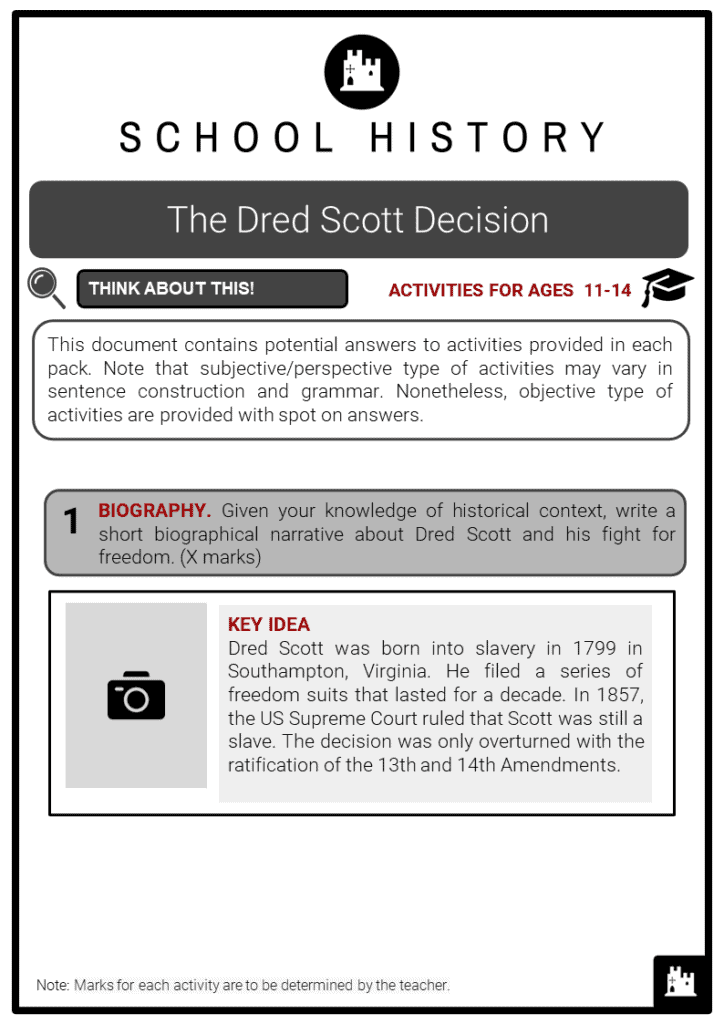 The Dred Scott Decision Student Activities & Answer Guide 2
