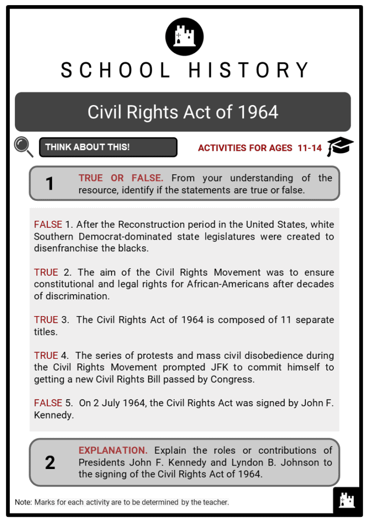 Civil Rights Act of 1964 Student Activities & Answer Guide 2