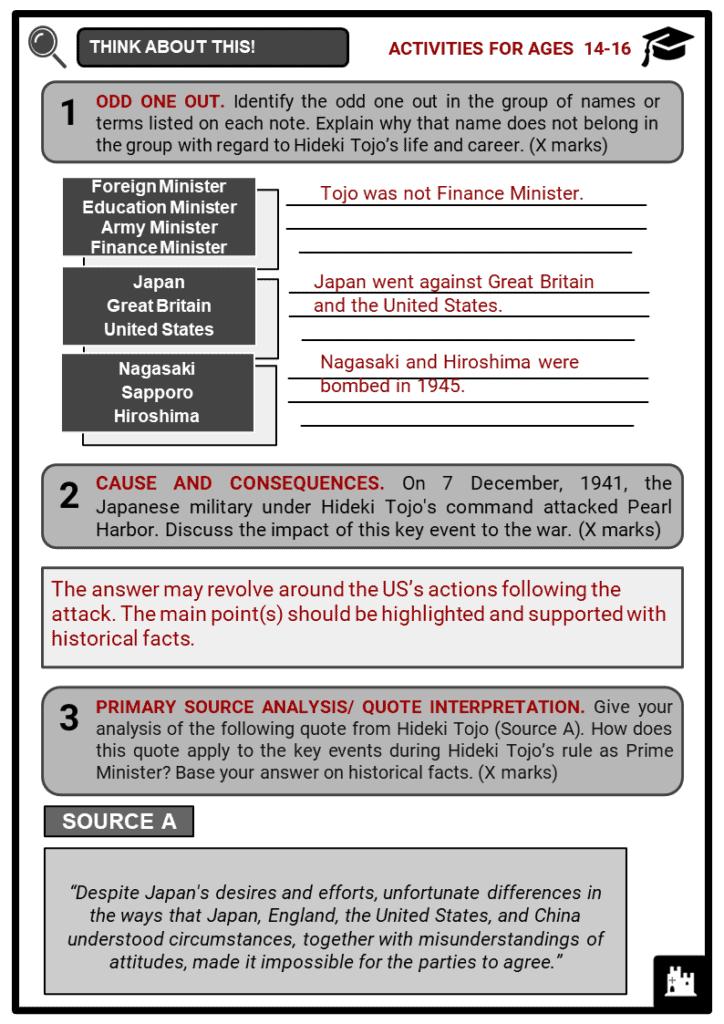 Hideki Tojo Student Activities & Answer Guide 4