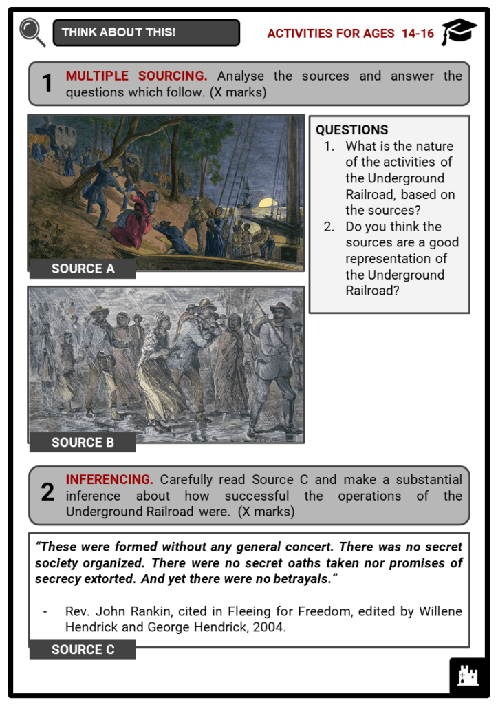 Underground Railroad Student Activities & Answer Guide 3