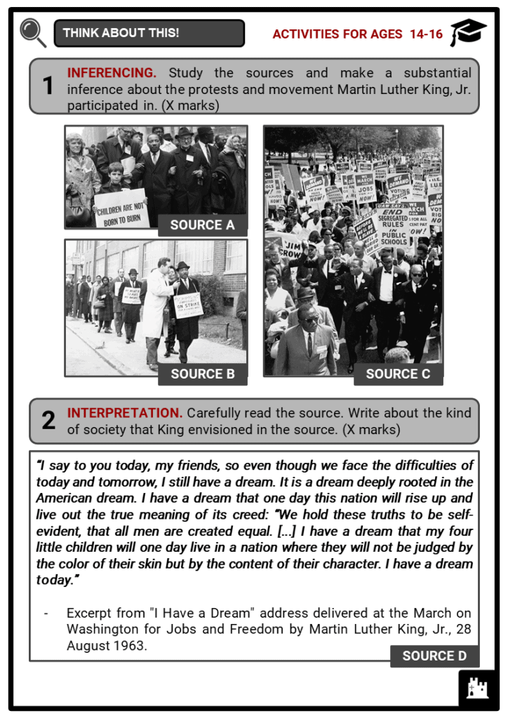 Martin Luther King, Jr. Student Activities & Answer Guide 3
