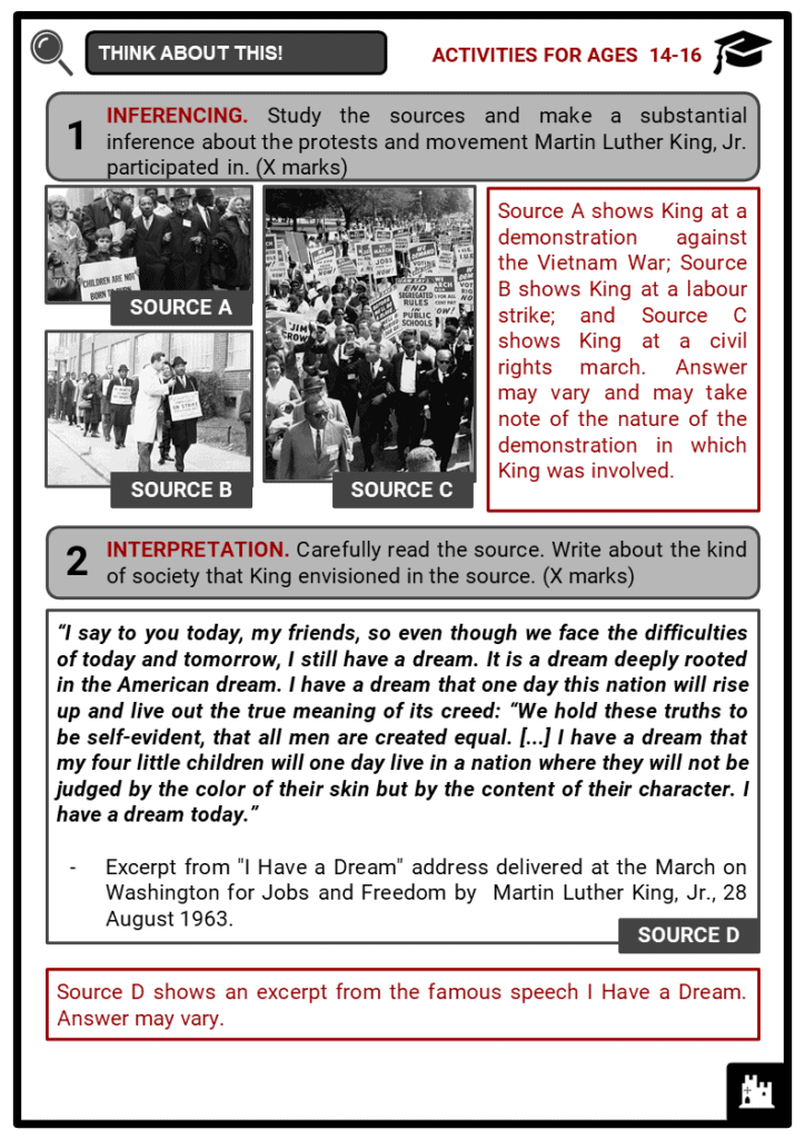 Martin Luther King, Jr. Student Activities & Answer Guide 4