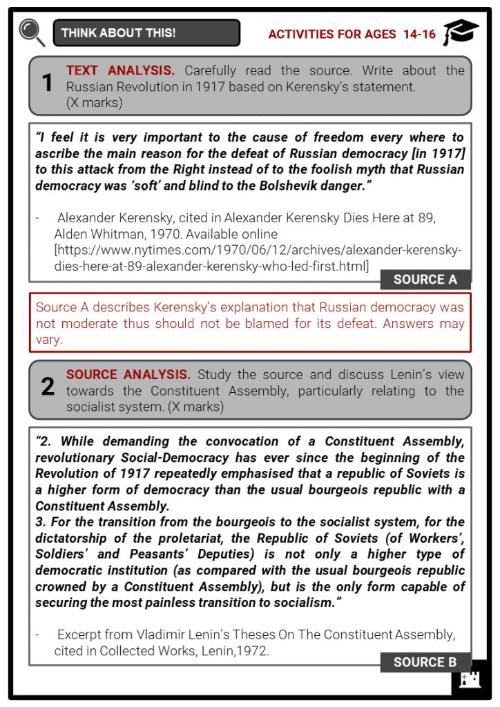 Russian Civil War Student Activities & Answer Guide 4