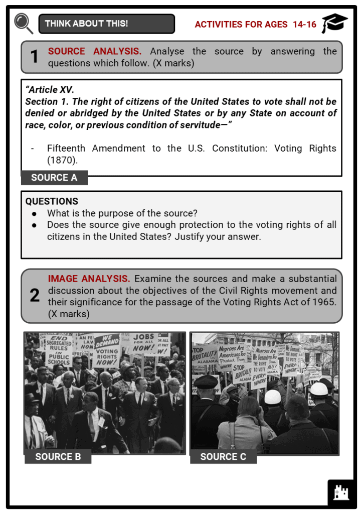 Voting Rights Act of 1965 Student Activities & Answer Guide 3