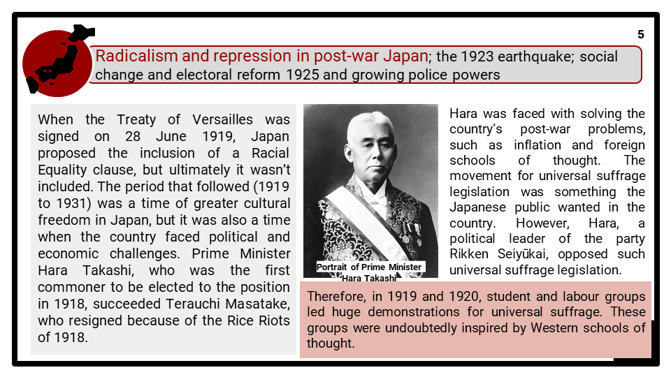 A Level The growth of nationalism in Japan 1920-1937 Presentation 2