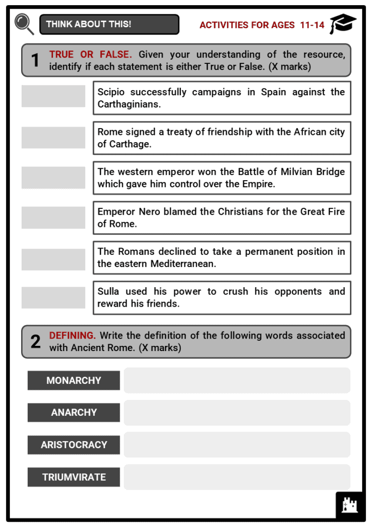 Ancient Rome Timeline Student Activities & Answer Guide 1