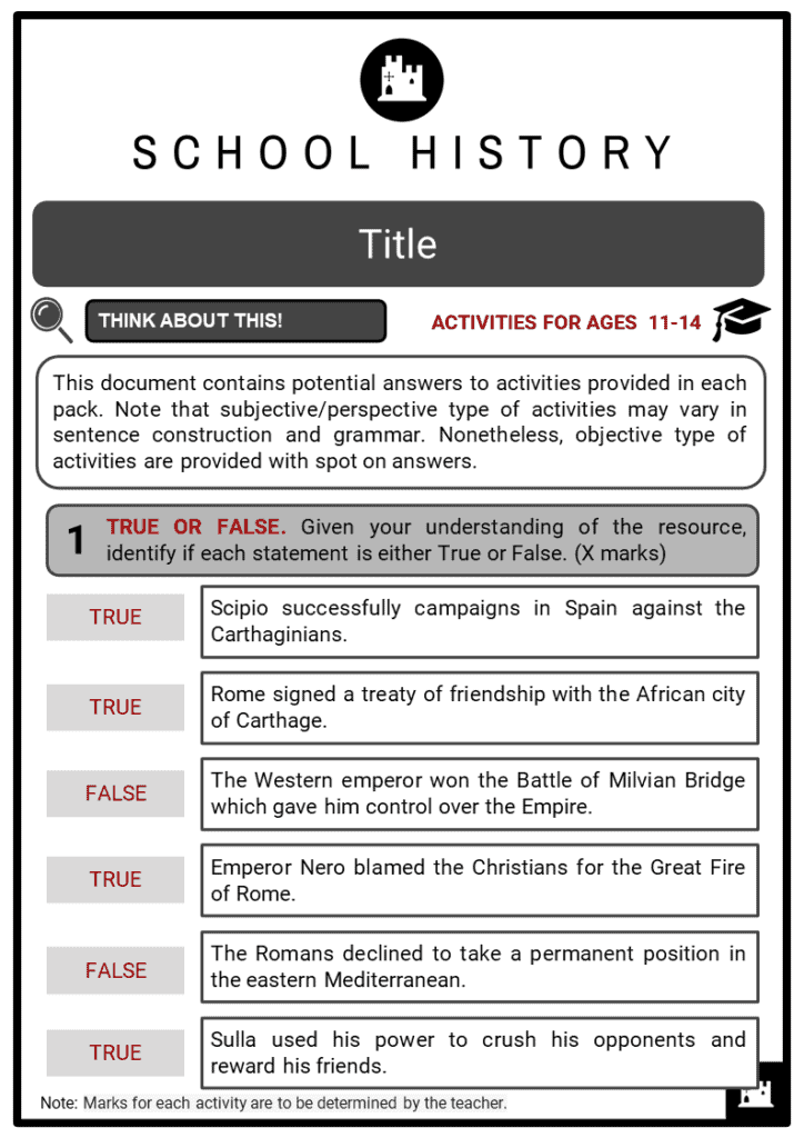 Ancient Rome Timeline Student Activities & Answer Guide 2
