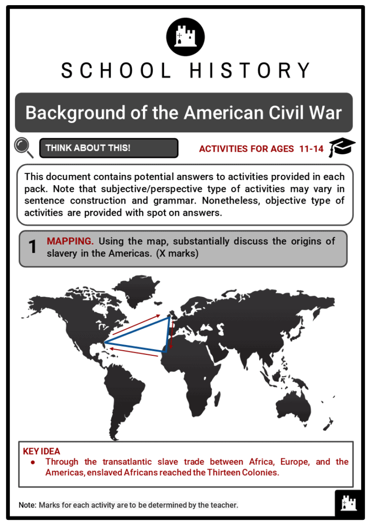Background of the American Civil War Student Activities & Answer Guide 2