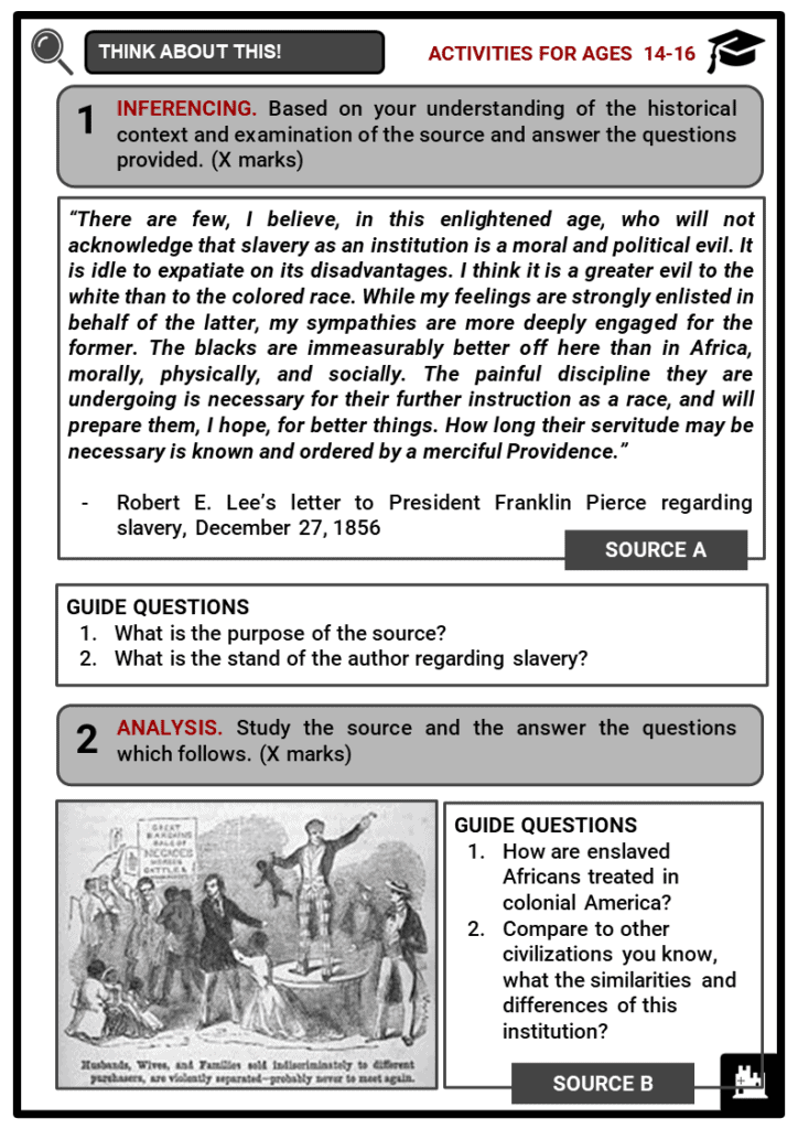 Background of the American Civil War Student Activities & Answer Guide 3