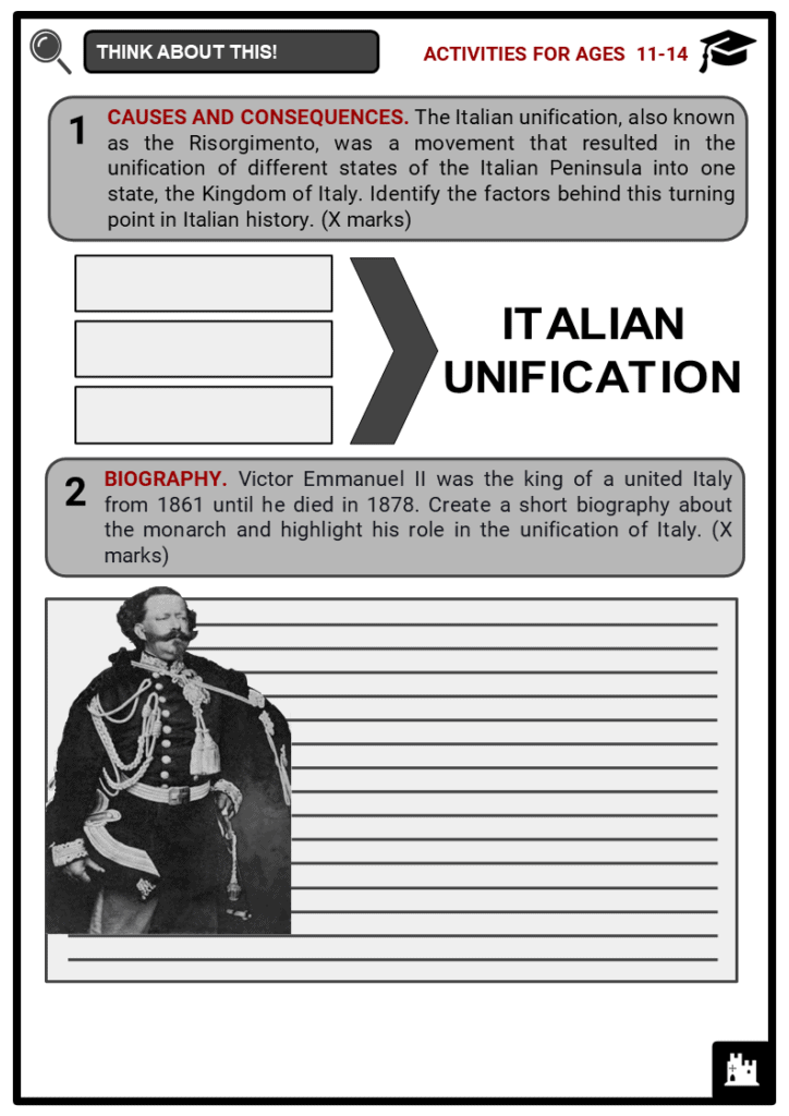 Italian Unification Student Activities & Answer Guide 1