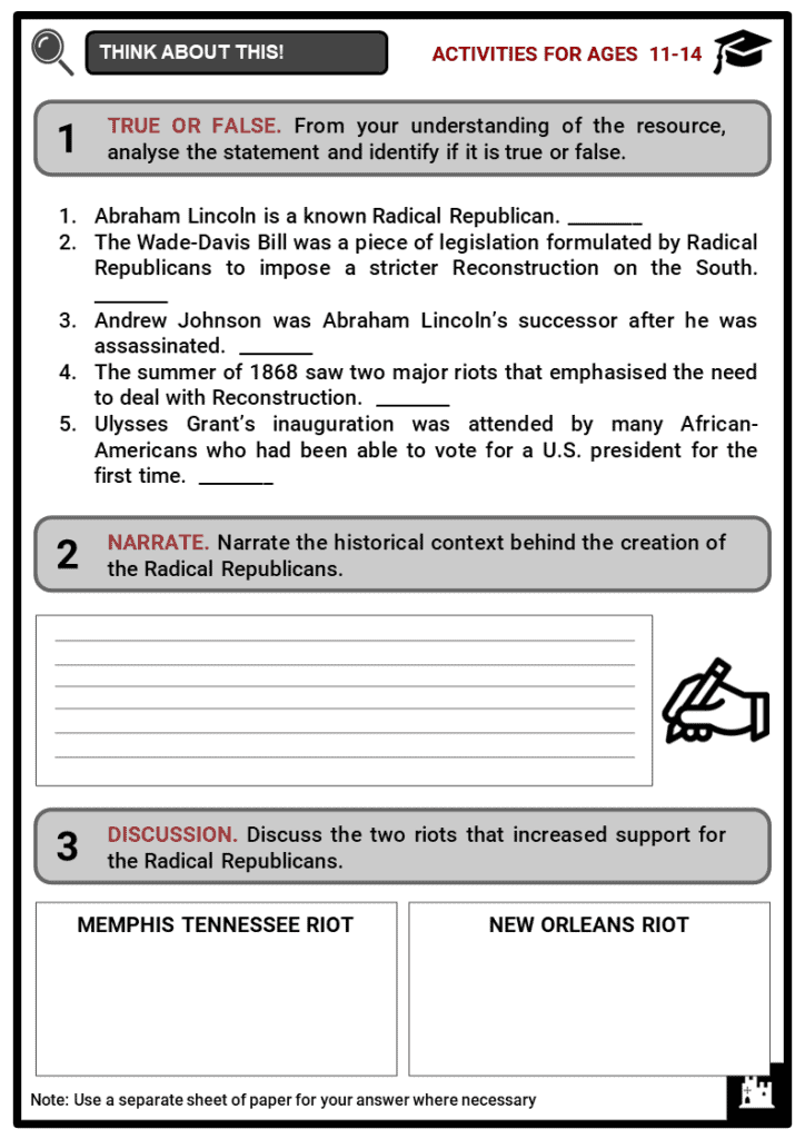 Radical Republicans Student Activities & Answer Guide 1
