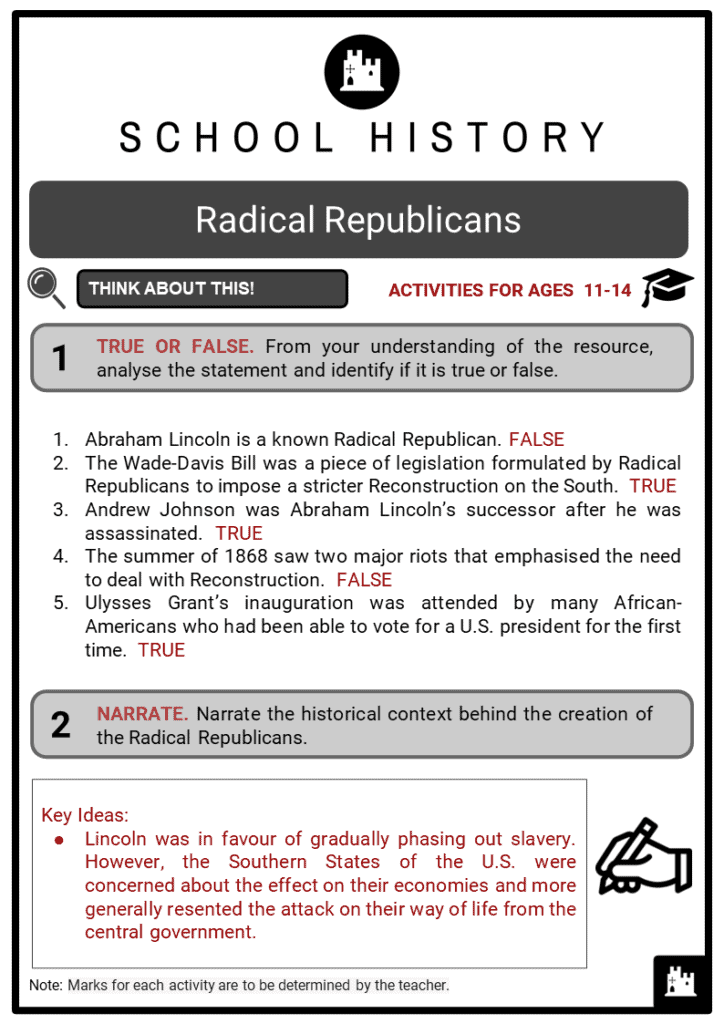 Radical Republicans Student Activities & Answer Guide 2