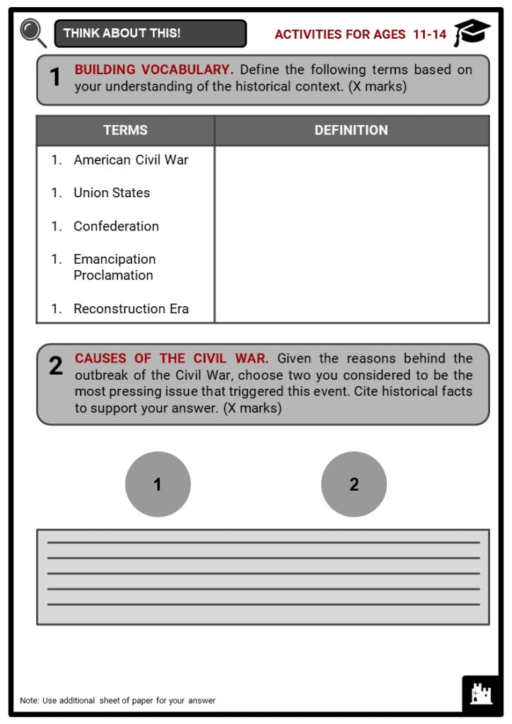 The American Civil War Student Activities & Answer Guide 1