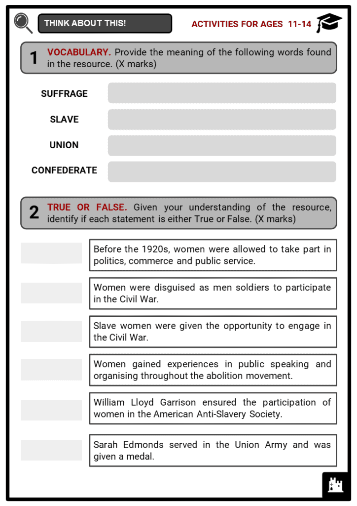 Women in the American Civil War Student Activities & Answer Guide 1