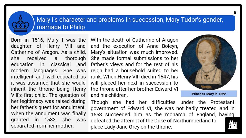 A Level Mary I, 1553-1558 Presentation 1