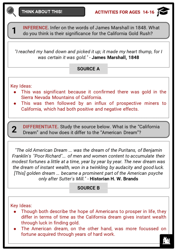 California Gold Rush Student Activities & Answer Guide 4