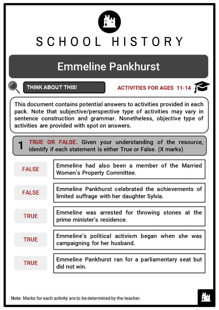 Emmeline Pankhurst Student Activities & Answer Guide 2