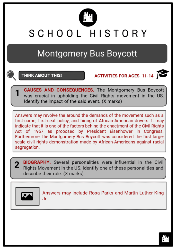 Montgomery Bus Boycott Student Activities & Answer Guide 2