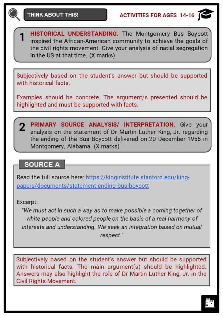 Montgomery Bus Boycott Student Activities & Answer Guide 4