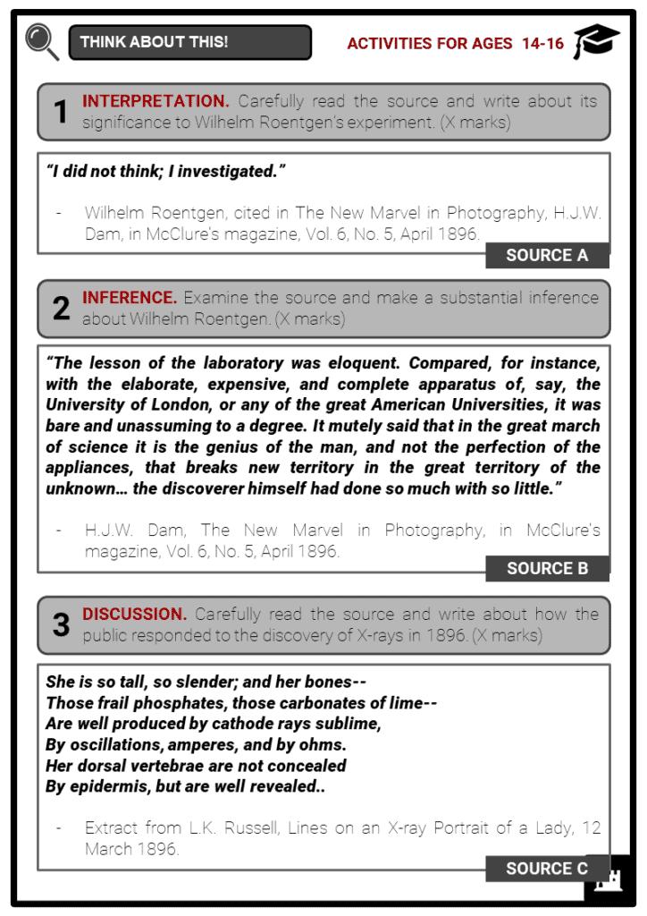Wilhelm Roentgen Student Activities & Answer Guide 3