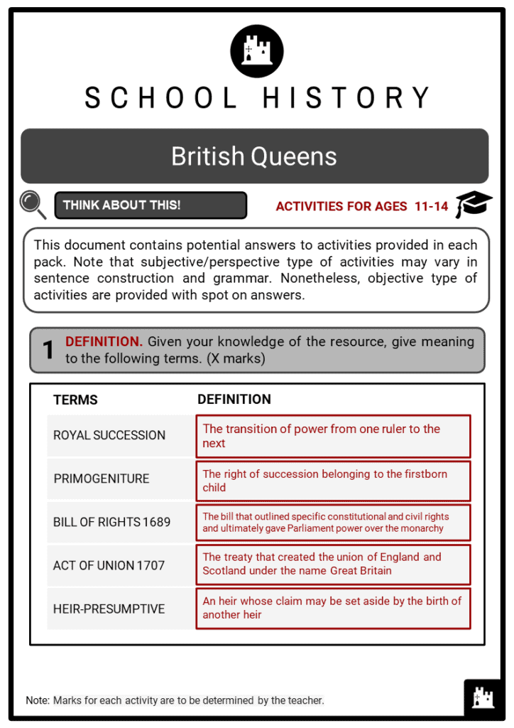 British Queens Student Activities & Answer Guide 2