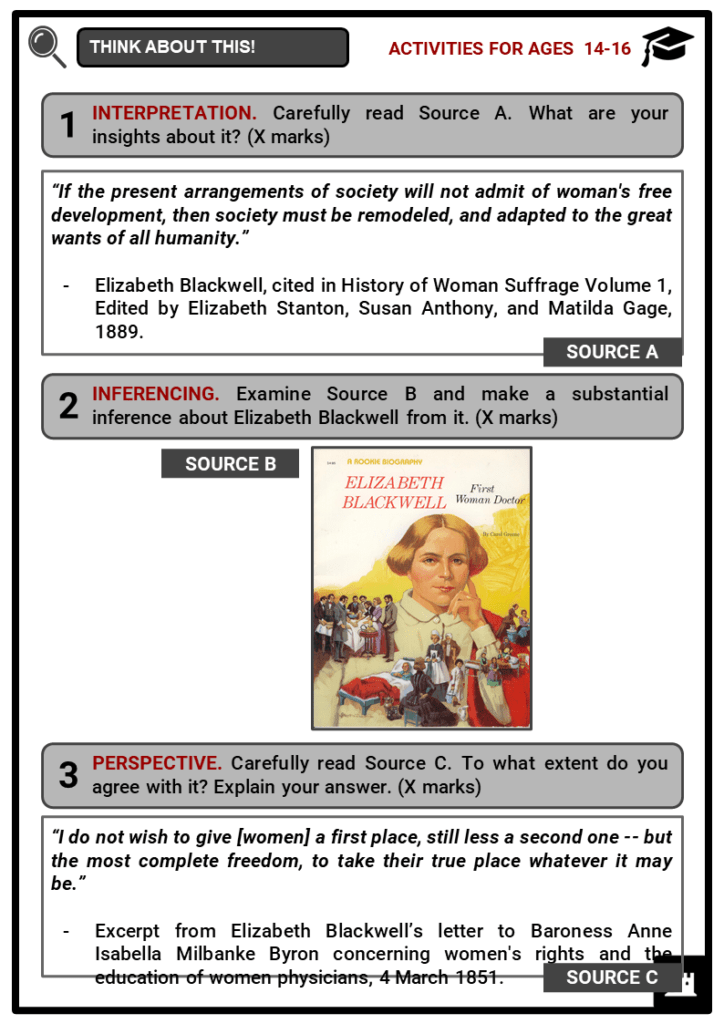 Elizabeth Blackwell Student Activities & Answer Guide 3