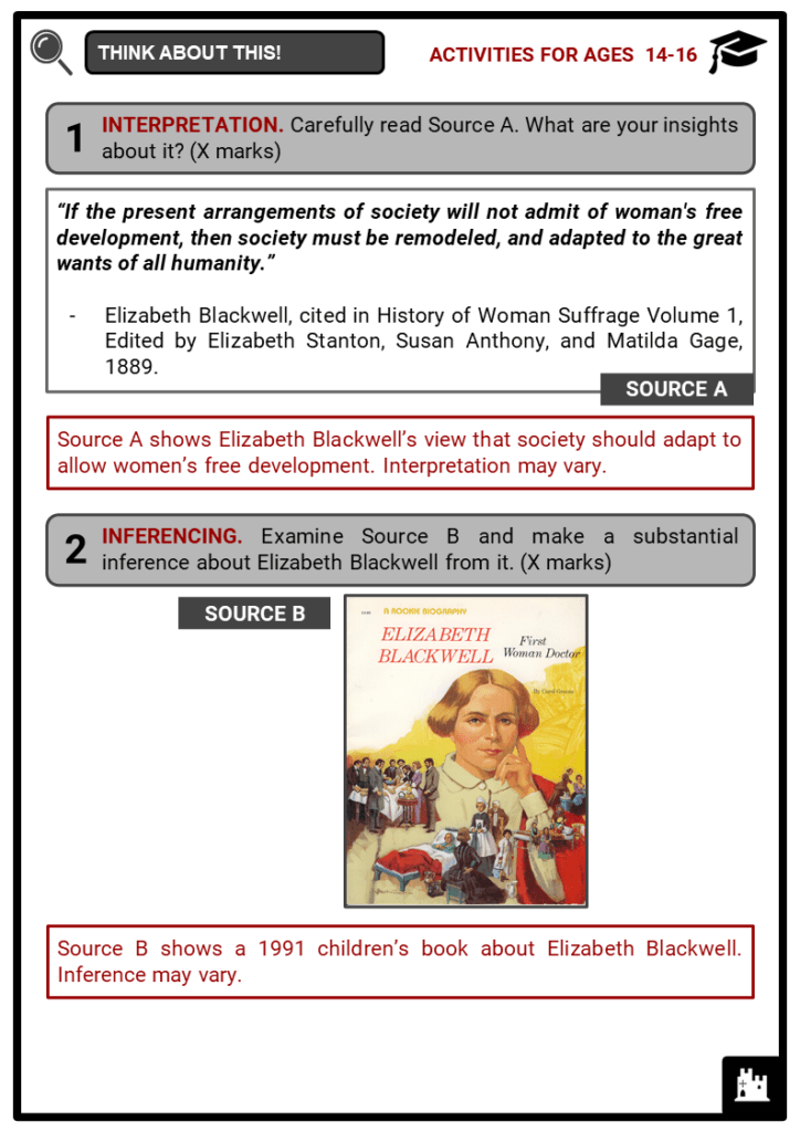 Elizabeth Blackwell Student Activities & Answer Guide 4