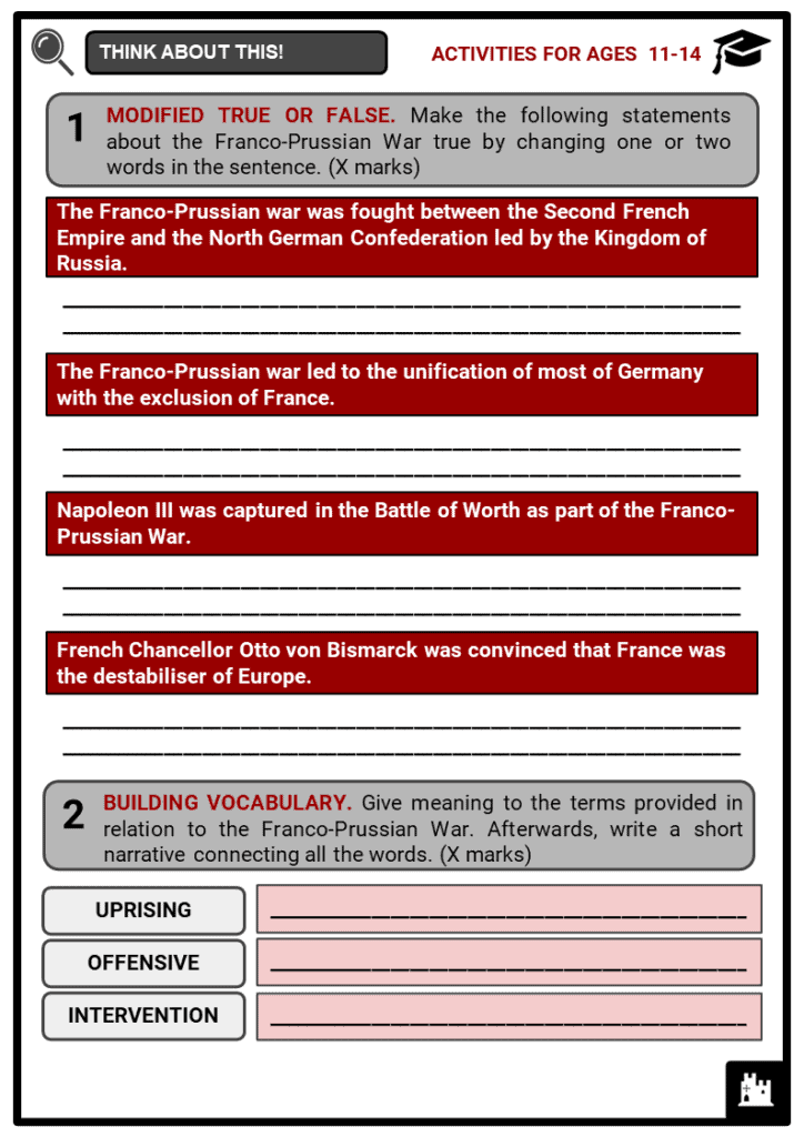 Franco-Prussian War Student Activities & Answer Guide 1