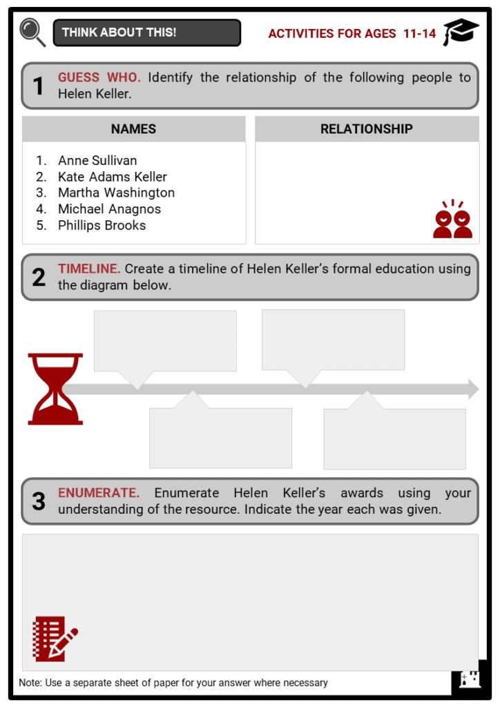 Helen Keller Student Activities & Answer Guide 1