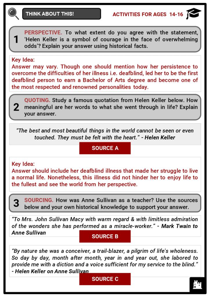 Helen Keller Student Activities & Answer Guide 4