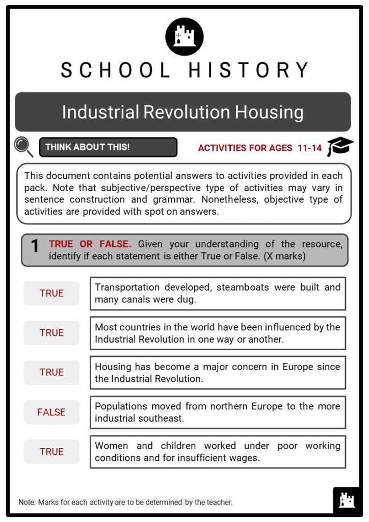 Industrial Revolution Housing Student Activities & Answer Guide 2