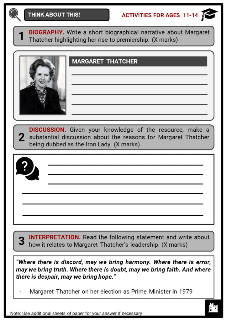 Margaret Thatcher Student Activities & Answer Guide 1