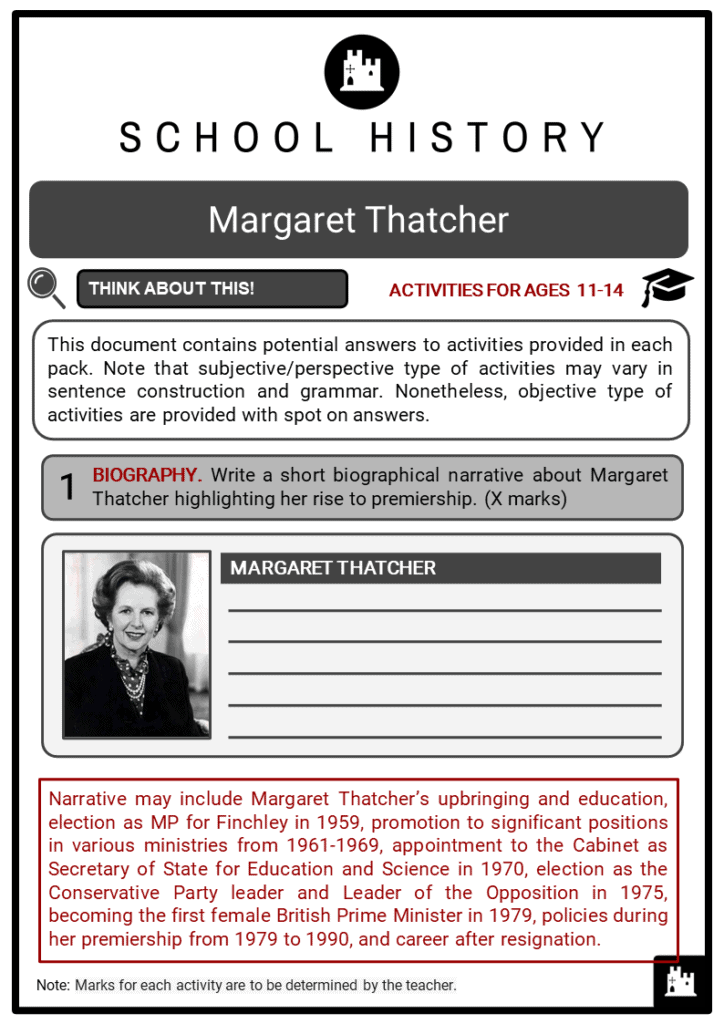 Margaret Thatcher Student Activities & Answer Guide 2