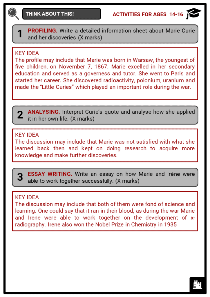 Marie Curie Student Activities & Answer Guide 4