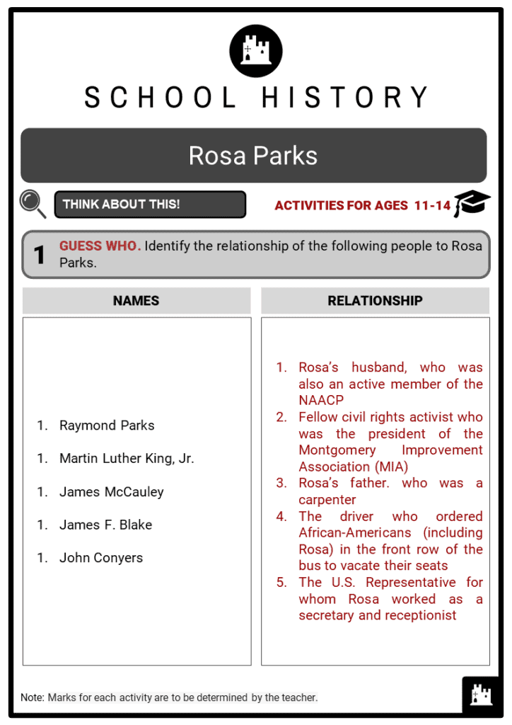Rosa Parks Student Activities & Answer Guide 2