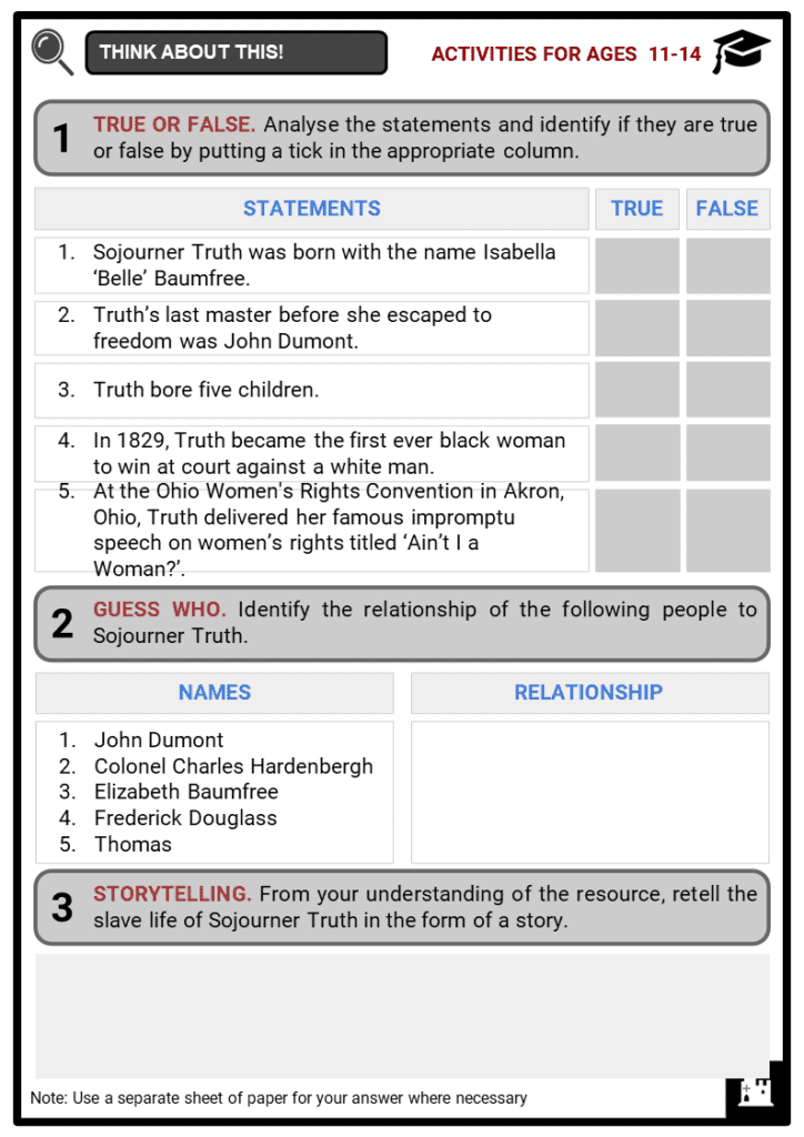 Sojourner Truth Student Activities & Answer Guide 1