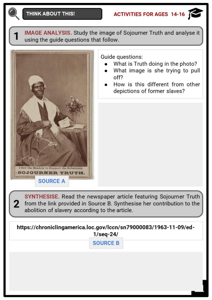 Sojourner Truth Student Activities & Answer Guide 3