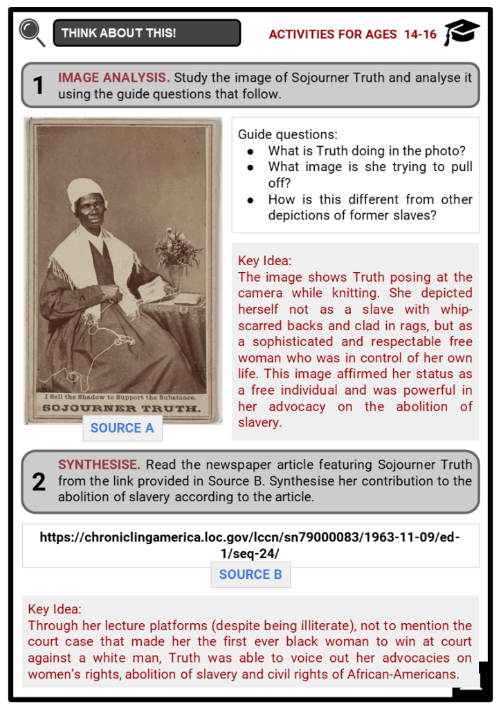 Sojourner Truth Student Activities & Answer Guide 4
