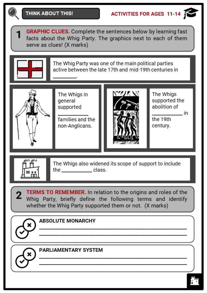The Whig Party Student Activities & Answer Guide 1