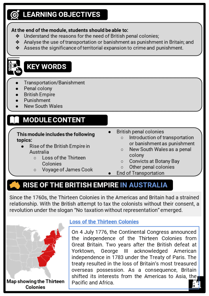 Australia and penal colonies printout 1