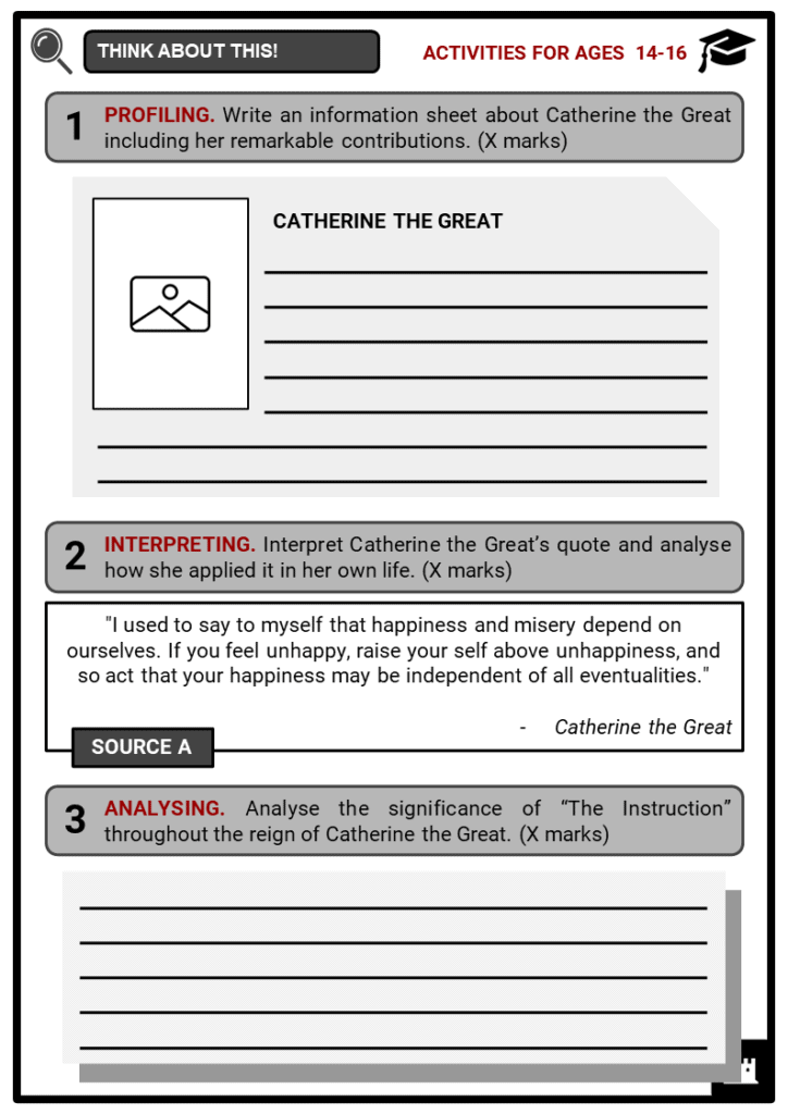 Catherine the Great Student Activities & Answer Guide 3